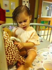 The night before surgery.  She is such a little doll.